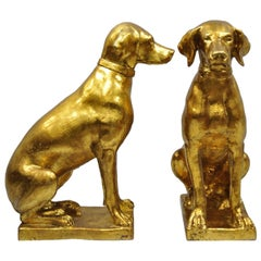 Pair of Italian Terracotta Gold Leaf Labrador Retriever Dog Statue Sculpture