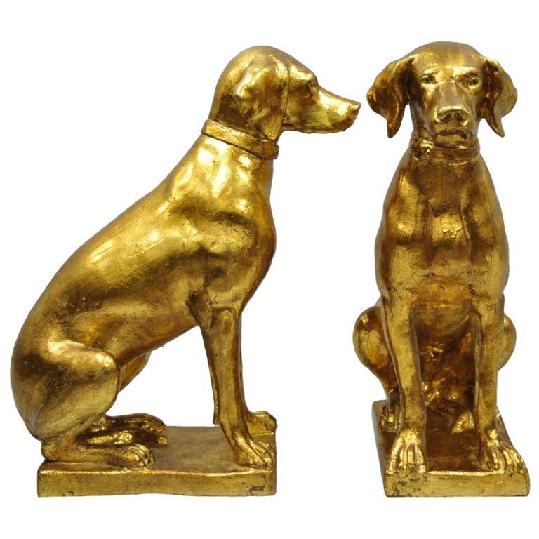 Pair of Italian Terracotta Gold Leaf Labrador Retriever Dog Statue Sculpture For Sale