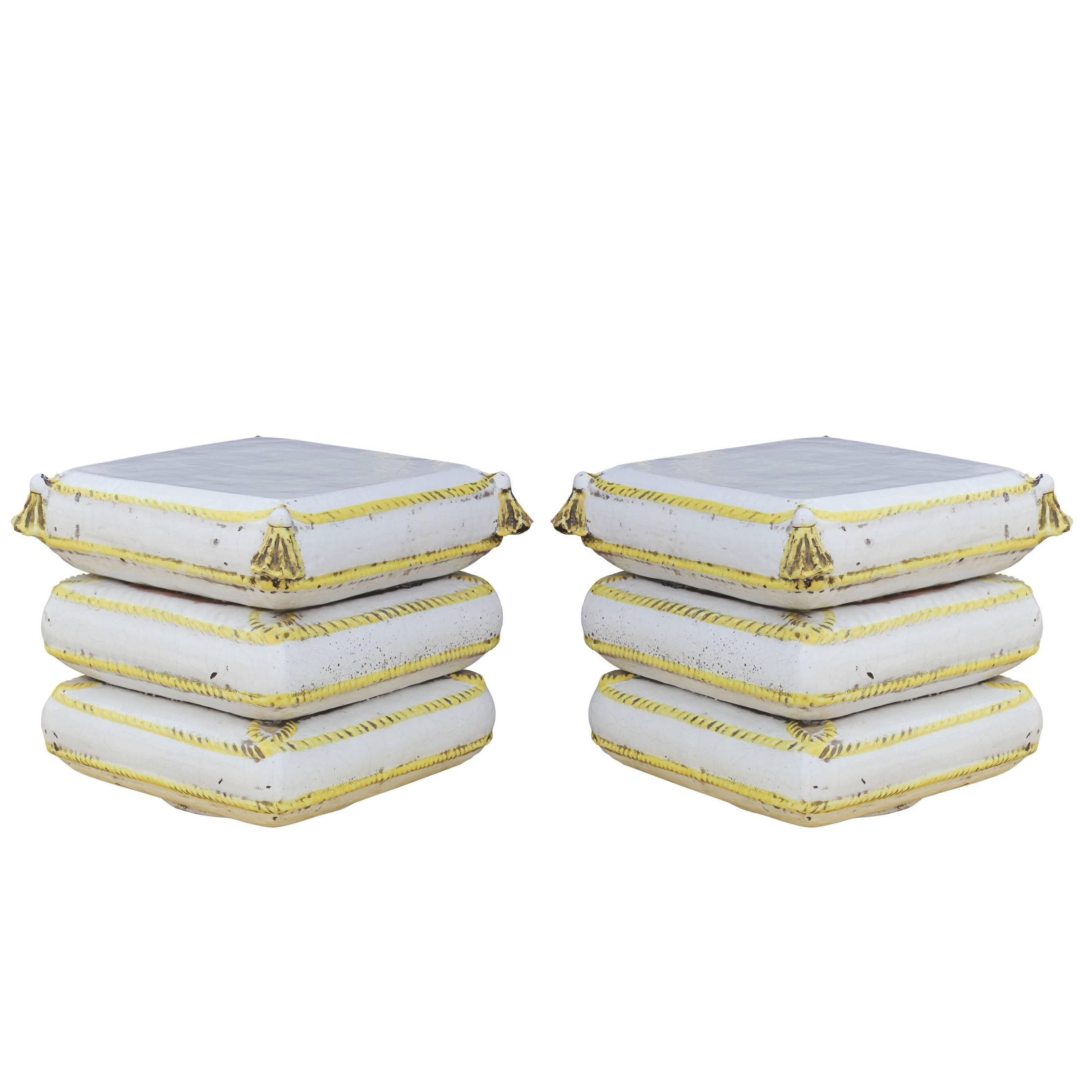 Bon Pair Of Italian Terracotta Or Ceramic Garden Stools In White With Yellow  Trim