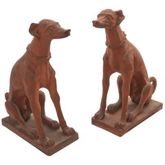 Pair of Italian Terracotta Statues of Whippets, circa 1860