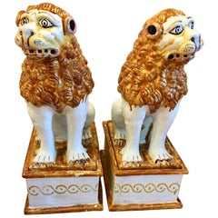 Pair of Italian Terracotta Temple Dogs