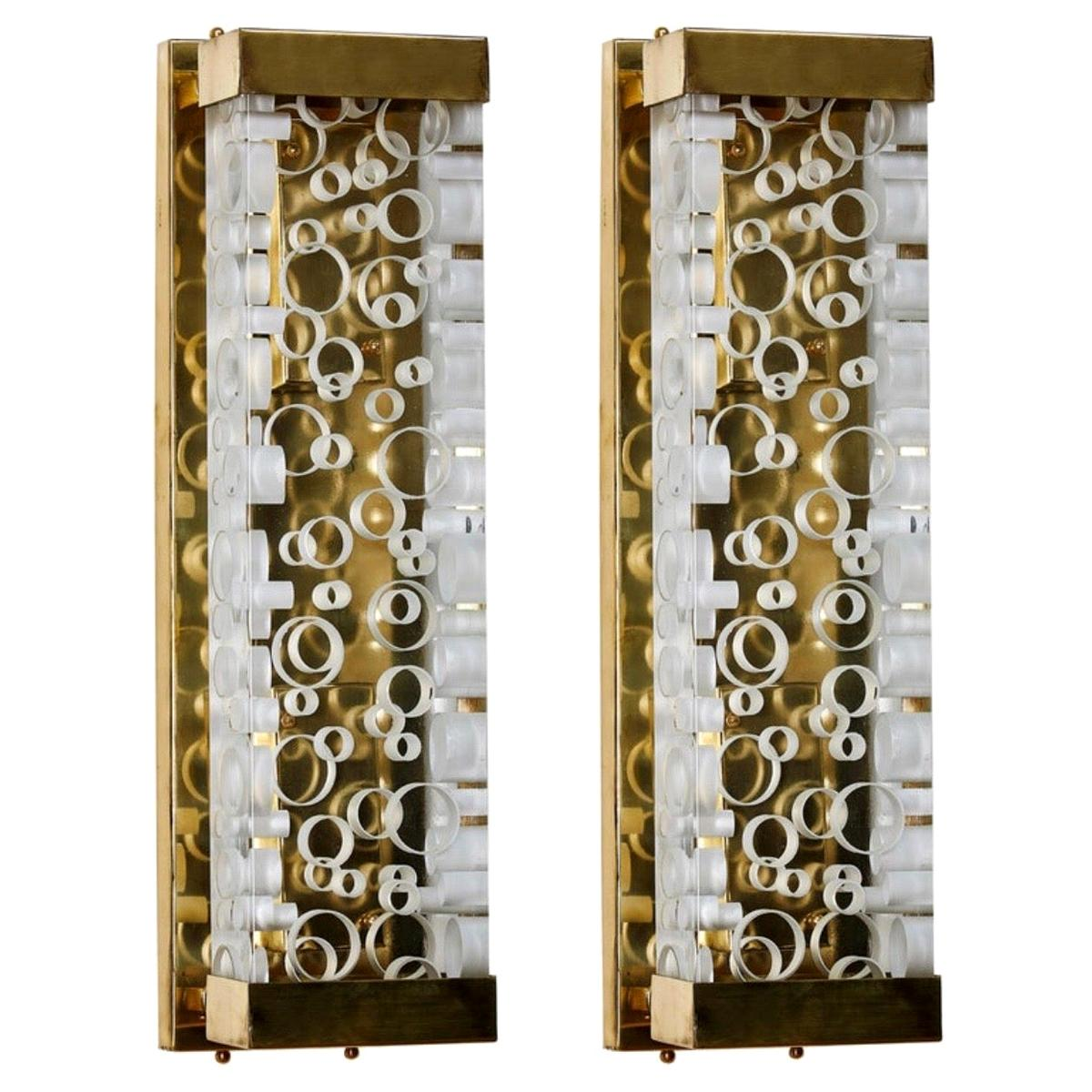 Pair of Italian Thick Murano Glass and Brass Sconces