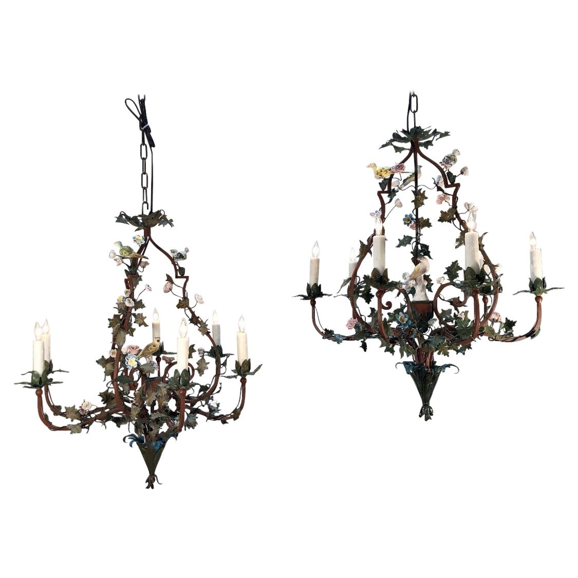 Pair of Italian Tôle Birdcage Shape Chandelier with Porcelain Flowers and Birds