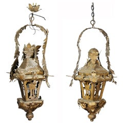 Pair of Italian Tole Hanging Lanterns