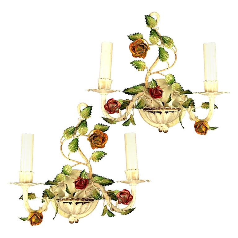 Pair of Italian Tole Roses Double Arm Sconces For Sale