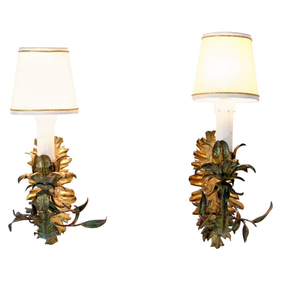Pair of Italian Tole Wall Sconces, circa 1950