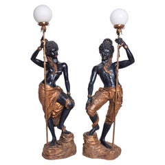 Pair of Italian Torchiere Floor Lamps by ARP in Gold Leaf