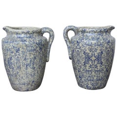 Pair of Italian Transferware Jars with Spouts from Umbria