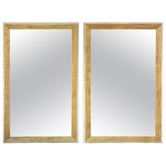 Pair of Italian Transitional Painted Wood Mirrors