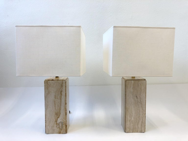 Modern Pair of Italian Travertine and Brass Table Lamps For Sale