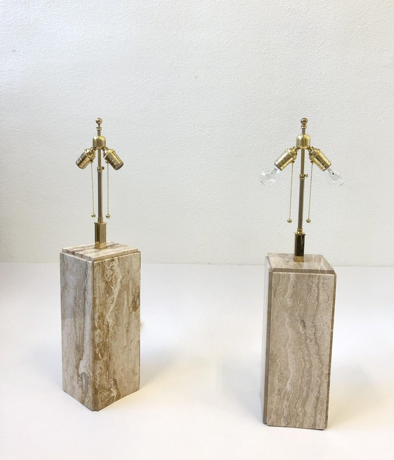 Pair of Italian Travertine and Brass Table Lamps For Sale 1