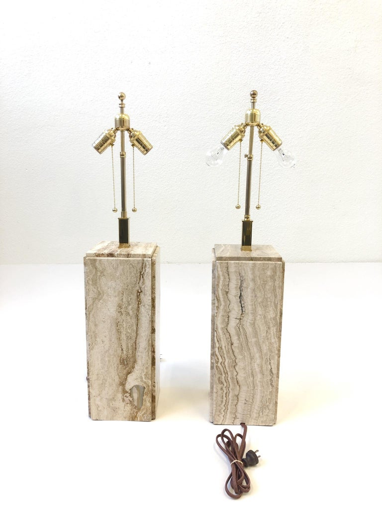 Pair of Italian Travertine and Brass Table Lamps For Sale 2