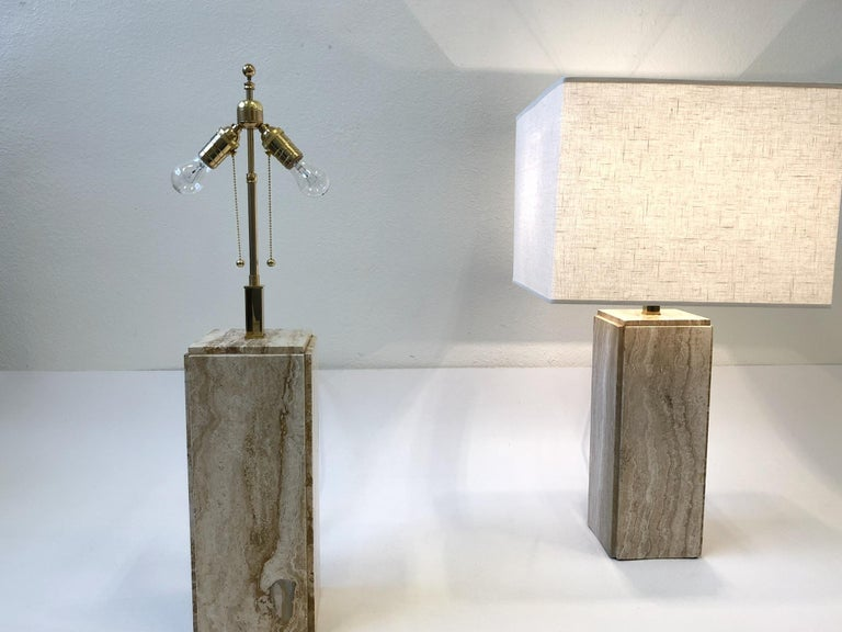 Pair of Italian Travertine and Brass Table Lamps For Sale 3