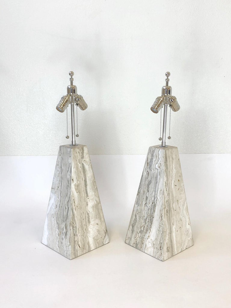 Pair of Italian Travertine and Polish Nickel Obelisk Shape Table Lamps  For Sale 6