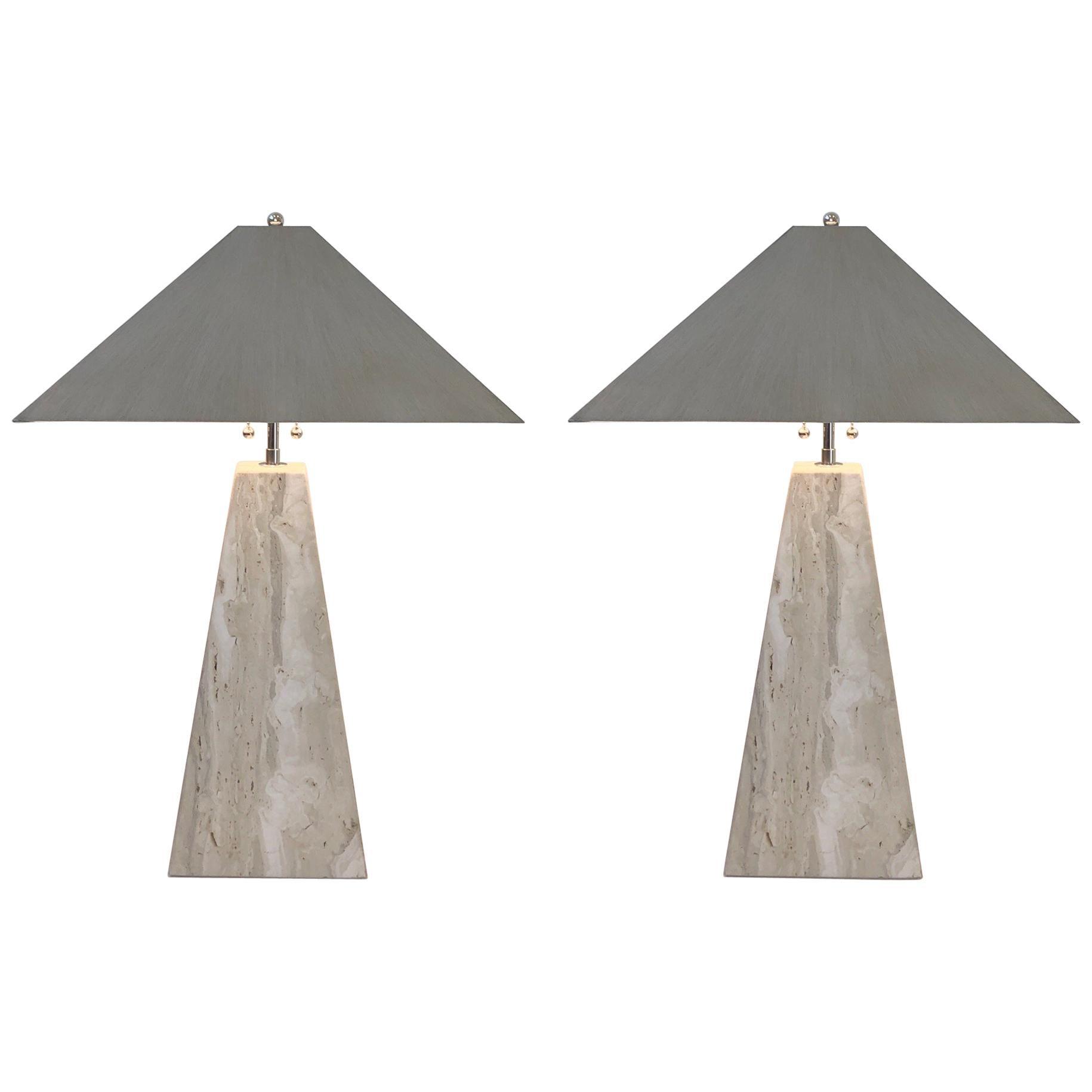 Pair of Italian Travertine and Polish Nickel Obelisk Shape Table Lamps