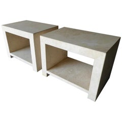 "Pair of Italian Travertine ""Caravelle"" Two-Tier End Tables Made for Kreiss"