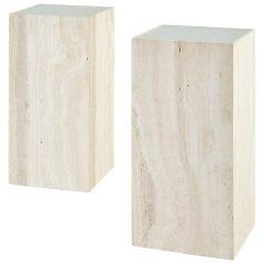 Pair of Italian Travertine Pedestal Display Tables