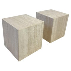 Pair of Italian Travertine Side Tables