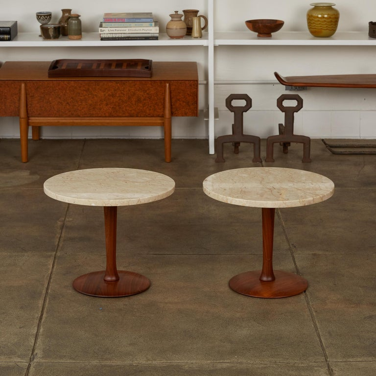 Mid-Century Modern Pair of Italian Marble Side Tables with Turned Walnut Bases