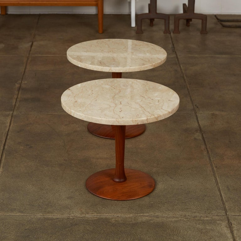20th Century Pair of Italian Marble Side Tables with Turned Walnut Bases