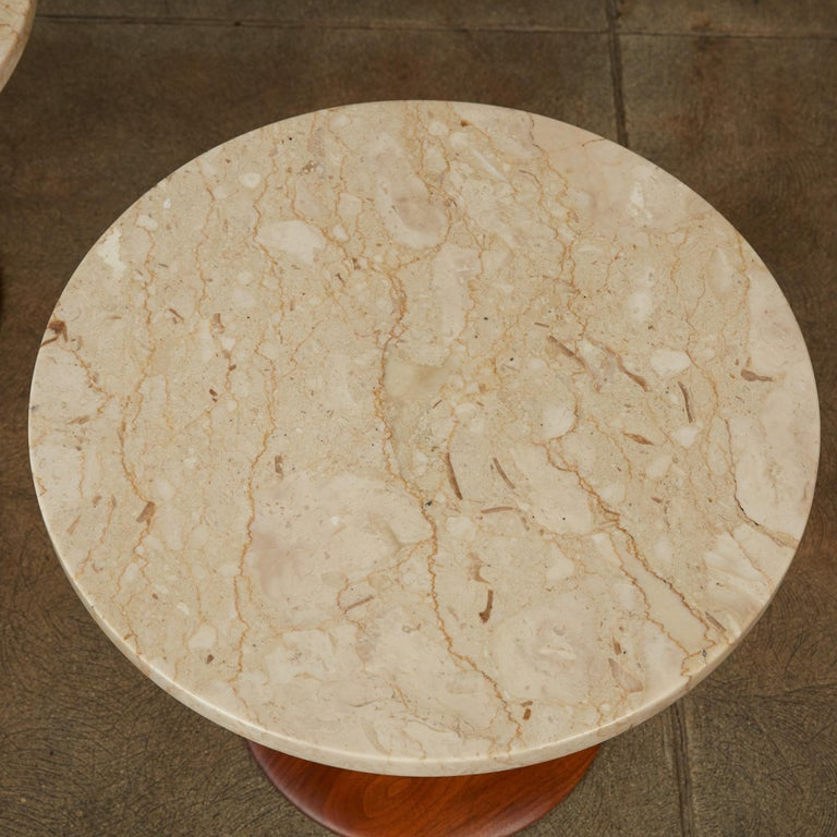 Travertine Pair of Italian Marble Side Tables with Turned Walnut Bases