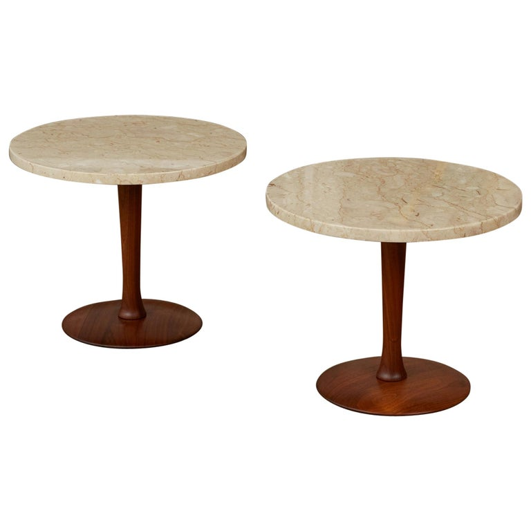 Pair of Italian Marble Side Tables with Turned Walnut Bases