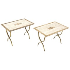 Pair of Italian Travertine Top X-Shape Base End Side Tables