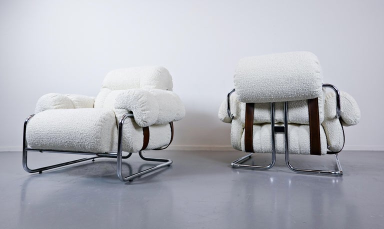 """Pair of Italian """"Tucroma"""" armchairs by Guido Faleschini for Mariani, 1970s."""