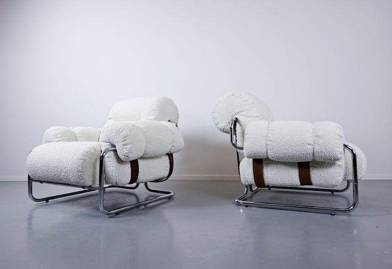 """Mid-Century Modern Pair of Italian """"Tucroma"""" Armchairs by Guido Faleschini for Mariani, 1970s"""