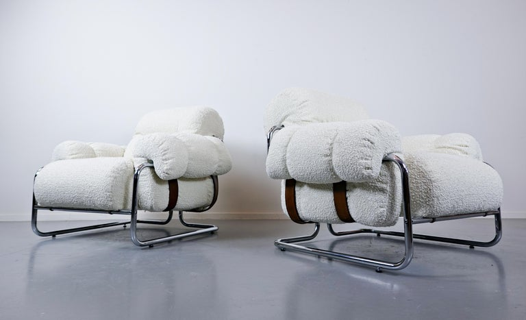 """Pair of Italian """"Tucroma"""" Armchairs by Guido Faleschini for Mariani, 1970s In Good Condition In Brussels, BE"""