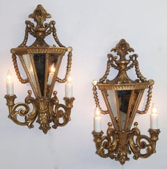 Pair of Italian Two Light Gilt Wood & Mirror Wall Sconces