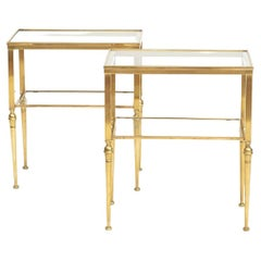 Pair of Italian Two-Tier Brass Side Tables