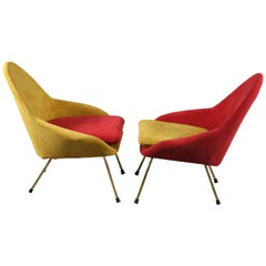 Pair of Italian Twotone Chell Cocktail Chairs, Italy 1950