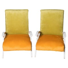 Pair of Italian Upholstered Armchairs in the Style of Gianfranco Frattini