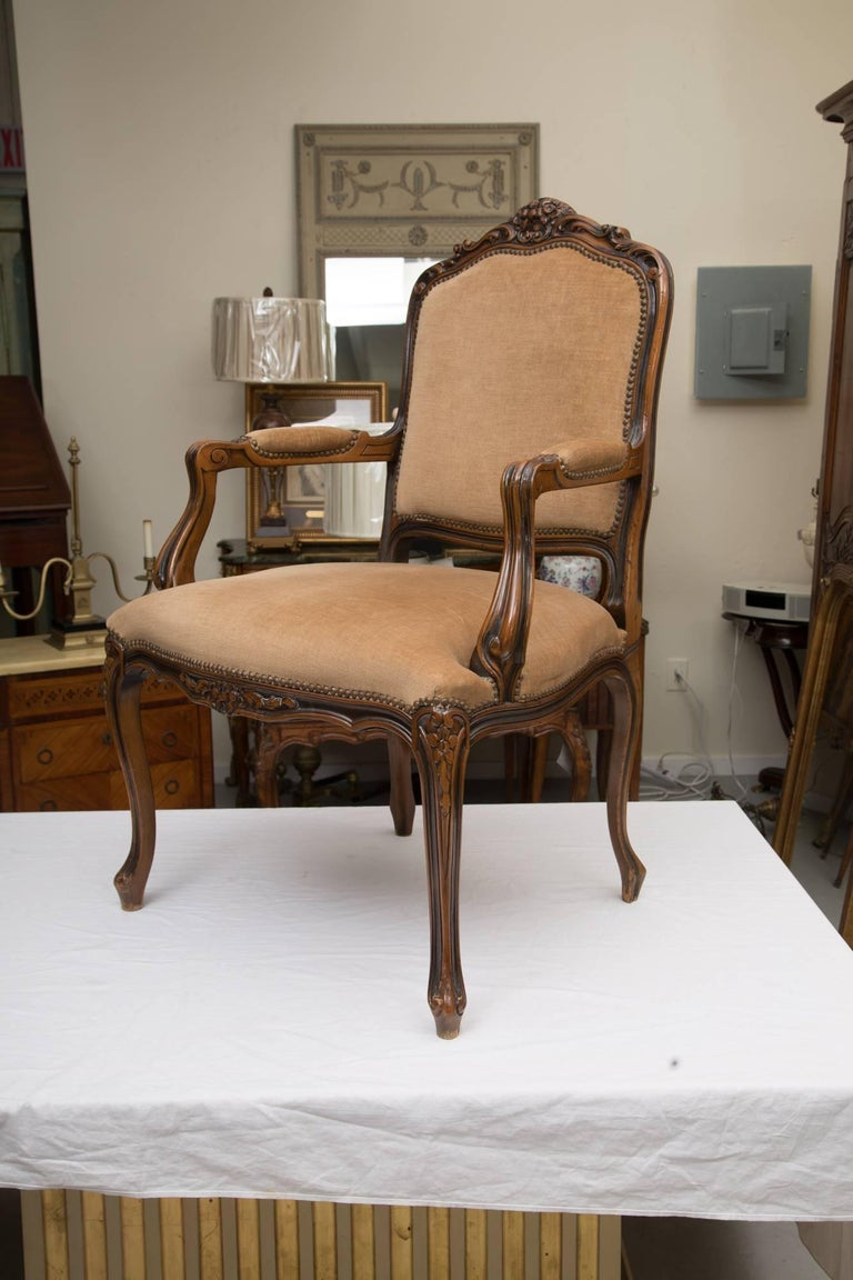 Woodwork Pair of Italian Upholstered Fauteuil Chairs For Sale