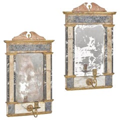 Pair of Italian Variegated Marble Mirrored Girandoles