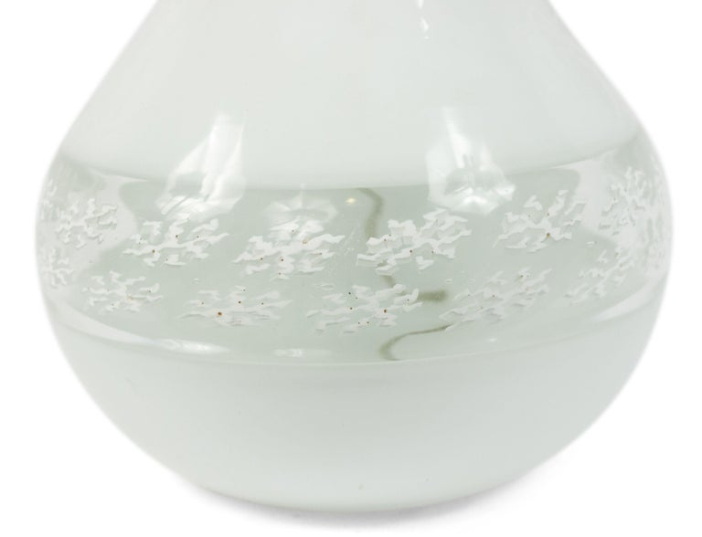 Pair of Italian Murano White Glass Table Lamps For Sale 1
