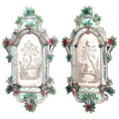 Pair of Italian Venetian Murano '19th Century' Wall Mirrors
