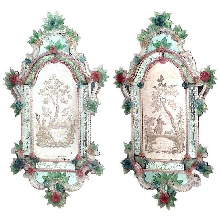 Pair of Italian Venetian Murano '19th Century' Wall Mirrors For Sale