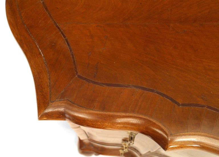 Walnut Pair of Italian Venetian Shaped Bedside Commodes For Sale