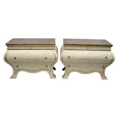 Pair of Italian Venetian Style Cream Distress Paint Bombe Commode Chest Dresser
