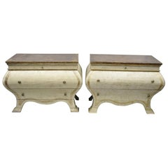 Pair of Italian Venetian Style Distress Painted Bombe Commode Chest