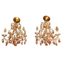 Pair of Italian Venice Murano Glass Crystal Fruit Hanging Chandeliers