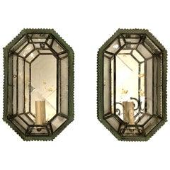 Pair of Italian Verdigris Tole and Mirror Sconces