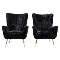 Pair of Italian Vintage Armchairs, Black Shearling Upholstery
