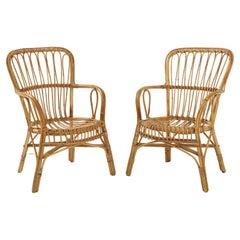Pair of Italian Vintage Bamboo Armchairs