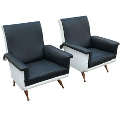 Pair of Italian Vintage Black and White Lounge Chairs