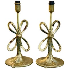 Pair of Italian Vintage Brass Bow Table Lamps Oval Base, 1970s