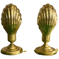 Pair of Italian Vintage Brass Clam Shell Nightstand Lamps, 1950s