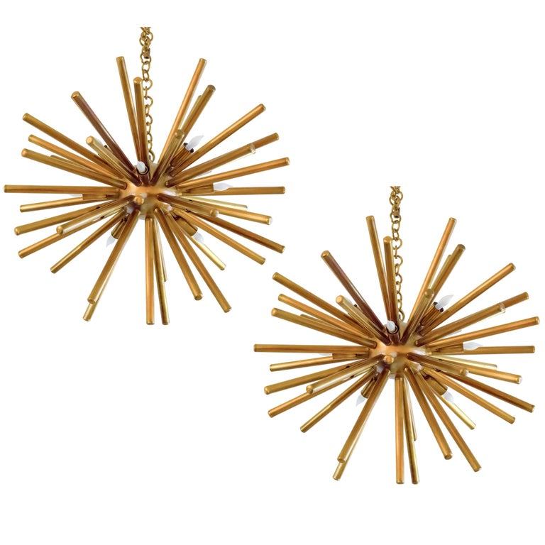 Pair of Italian Vintage Brass Sputniks